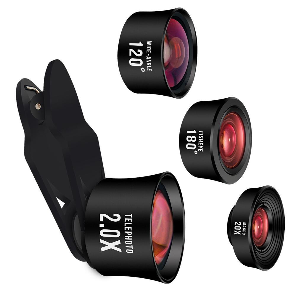 Smart phone 2018 camera zoom 6mm hd super wide angle fisheye lens 4 in 1 lenses kit
