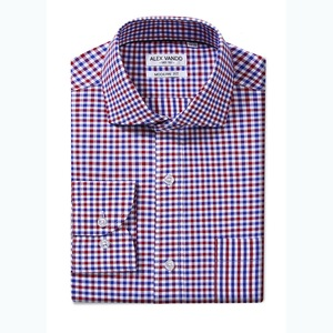 OEM men's high quality model mens lined cotton long sleeve plaid office uniform shirts
