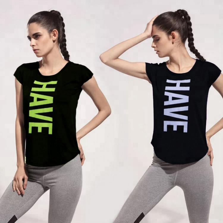 Woman yoga workout clothes seamless sports short-sleeve t-shirts