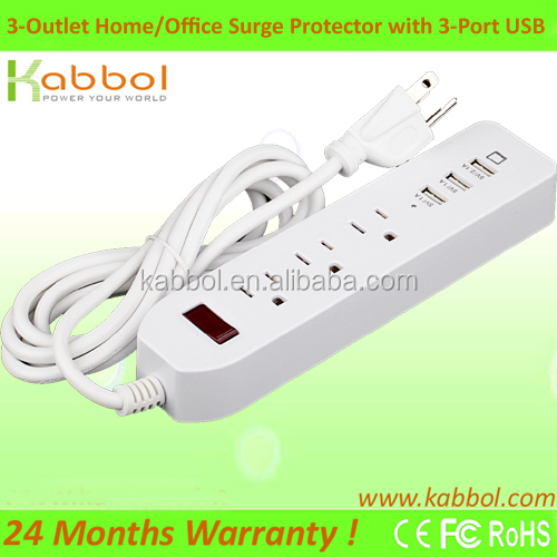 2016 Latest Waterproof Surge Protector USA 3 Outlets Extension Power Strip with 3 USB Charging Ports for LG G4 Note 5 Note 4