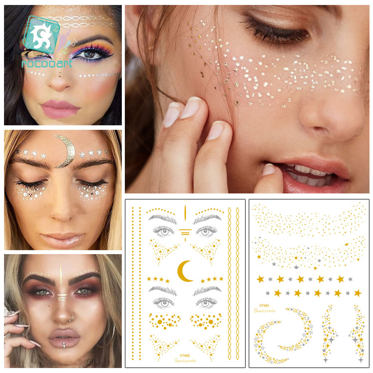 Rocooart Gesicht Make-Up Tattoo Haut Streusel Glitter Sommersprossen Tattoos Metallic Temporäre Tattoos