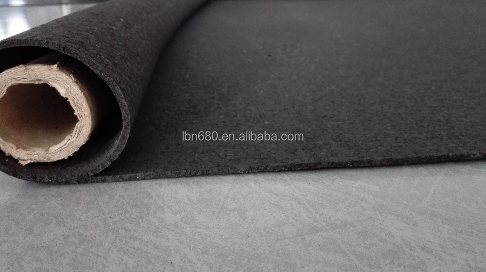 Vapor barrier thermal insulating underlayment of rubber granuels, over hardwood or concrete subflooring
