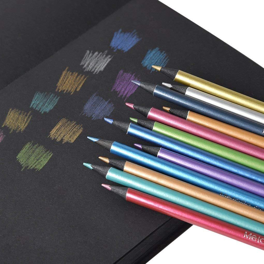 Metallic Colored Pencils Black Wood Drawing Pencils 12 Assorted Colors Sketching Pencil Set Art Pencils for Kids Children Adults Coloring Book Art Craft