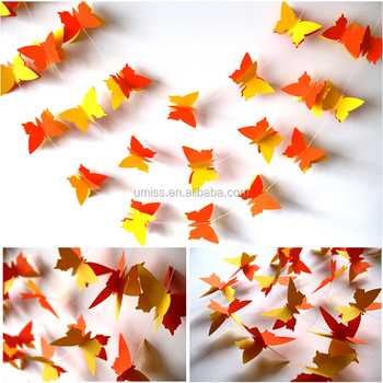 UMISS 3D Colorful Butterfly Hanging Paper Garland, Spring Summer Party  Decoration