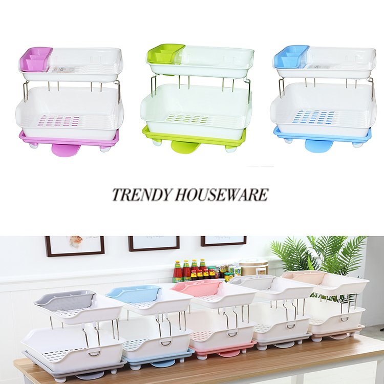 EU safety test hot sell export dish rack plastic with draining tray kitchen tool stainless steel double layer dish drainer
