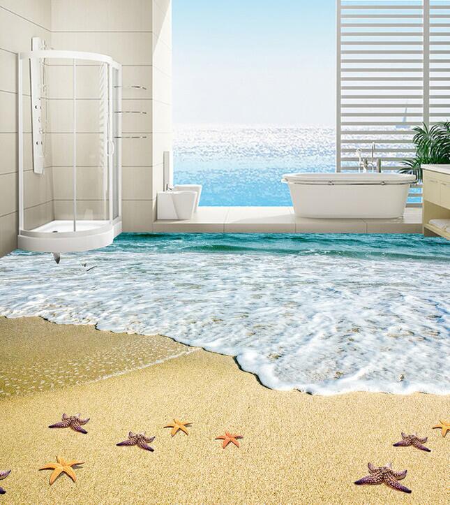 tanzen am strand ihres hauses sand und strand 3d boden wandbild m dchen wand gro e gr e stoff. Black Bedroom Furniture Sets. Home Design Ideas