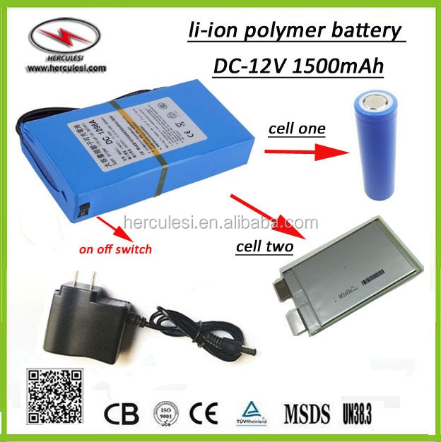 Rechargeable Small 12 Volt 1500mah Battery Ultra Thin 12v