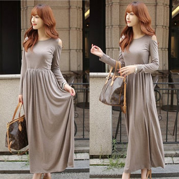 c75196301ead Cotton spandex modal cold shoulder long sleeve maxi dress womens brown  dresses