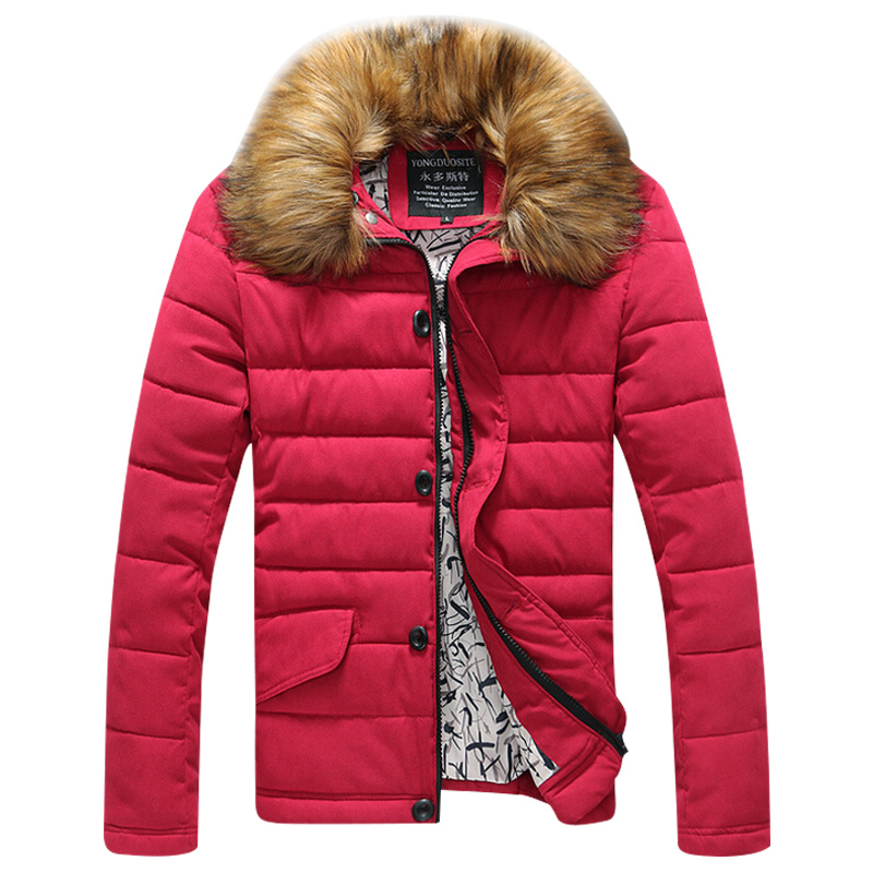 2015 Jackets Winter Brand Fashion New Design Fur Collar Warm Outdoors Sports Parkas Padded Cotton Thick Coat Casual Wear EHY688