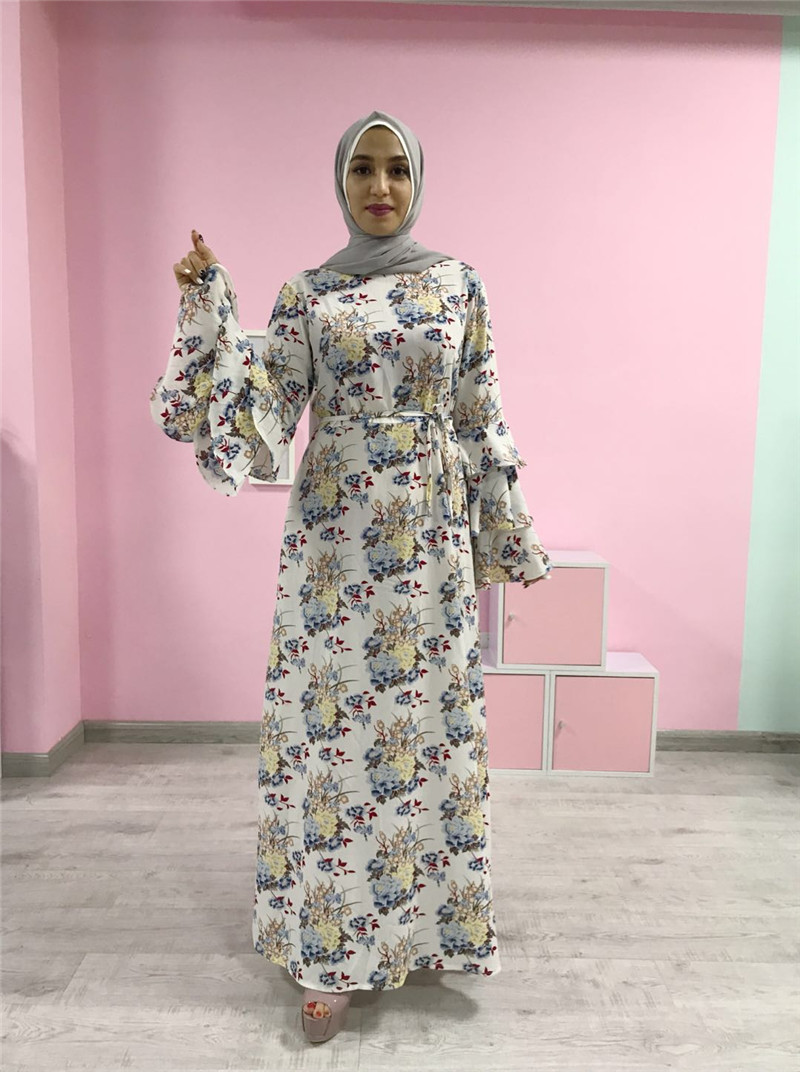 High quality floral printing dress abaya ruffle sleeve muslim women maxi dress