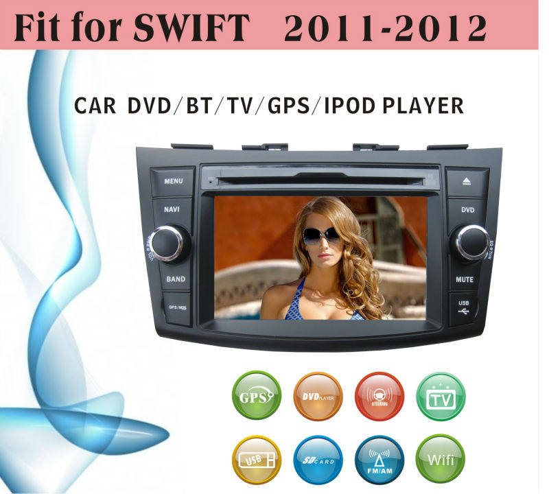 car dvd vcd cd mp3 mp4 player fit for Suzuki Swift 2011 - 2012 with radio bluetooth gps tv