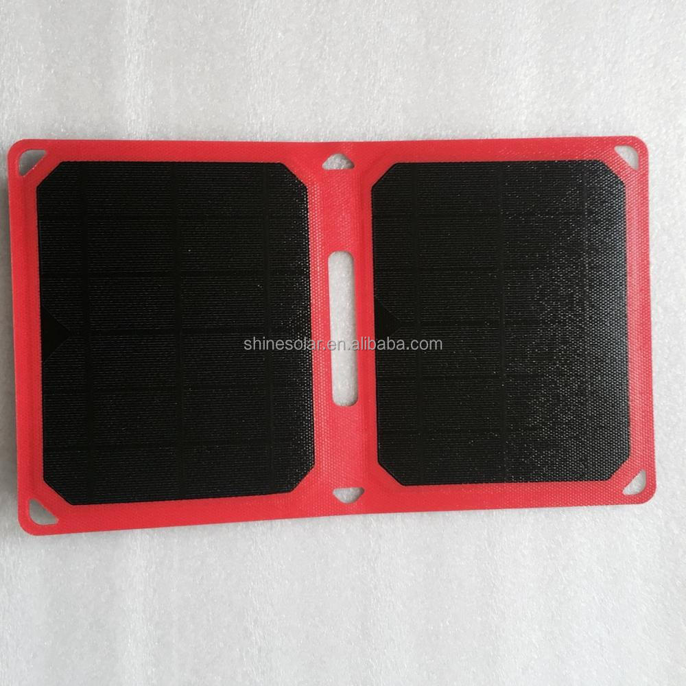 upgraded monocrystalline solar panel 5A 10W portable foldable solar panel charger for outdoors hunting, hiking, camping