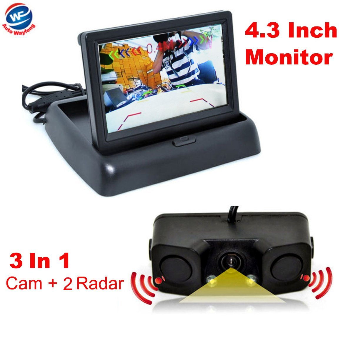 Auto Wayfeng WF 3 in 1 Video Parking Assist Backup Radar Sensor With Rear View Camera Camera + 4.3 inch LCD Mirror Of Video Monitor Car Parking