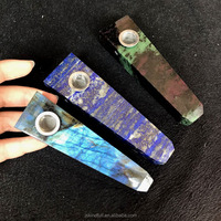 New arrived products natural rose quartz lapis lazuli labradorite designed fancy smoking pipes weed for tobacco