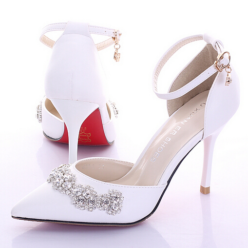 Get Quotations · 2015 White Pink Red Summer Bridal Shoes High Heels Thin  Heels Strap Formal Dress f0f3807c6e53