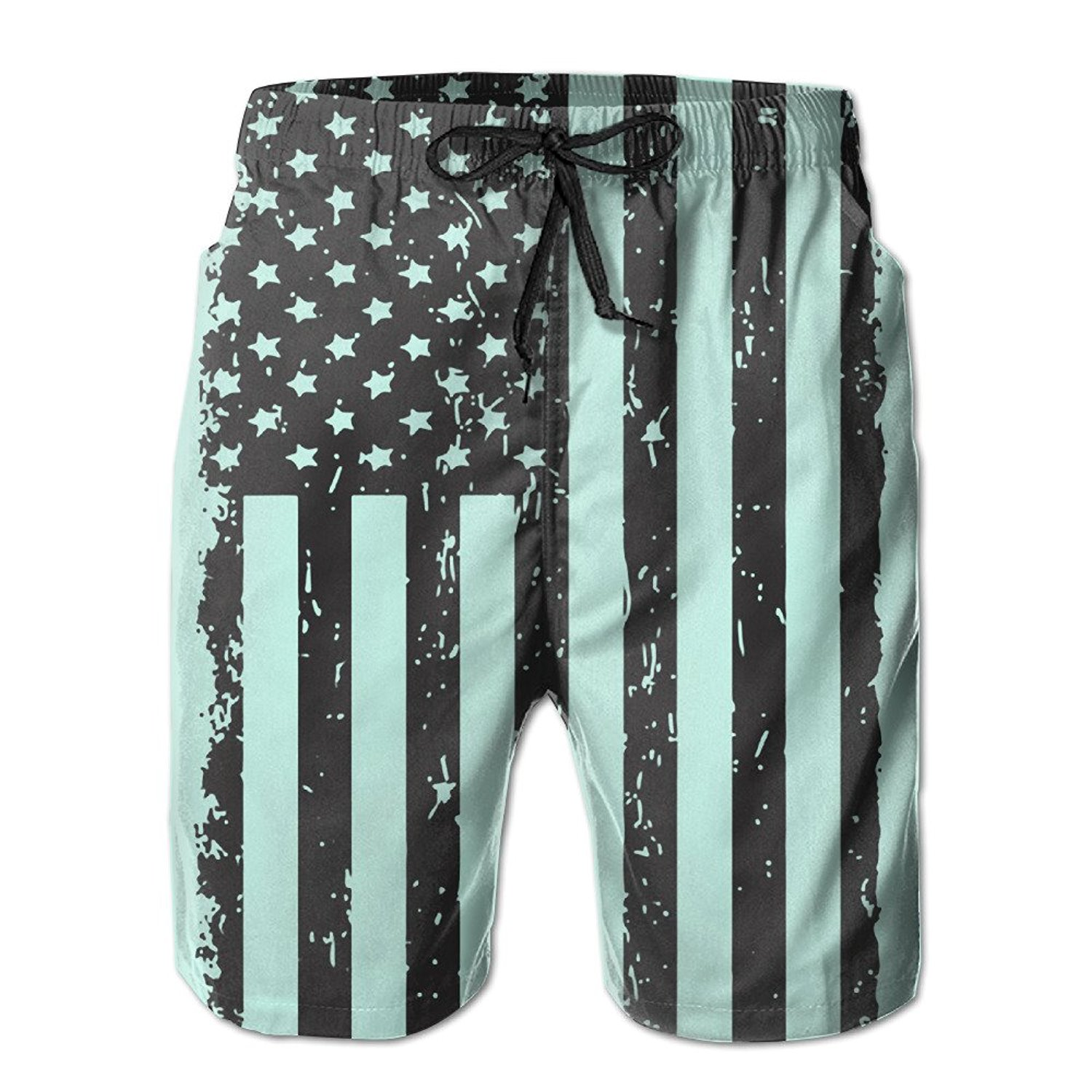 6ebf0ff417d41 Get Quotations · Big Black American Flag Strong Cool Men's Beach Shorts  Swimming Beach Shorts Swim Shorts Solid Color