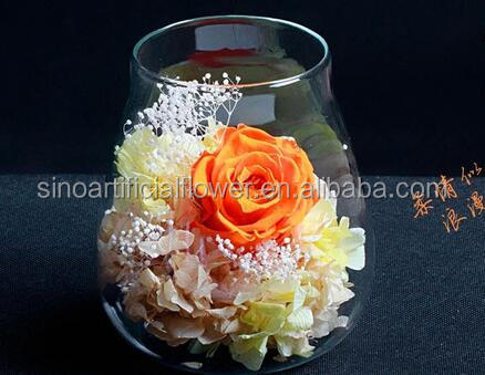 2017 new gift wholesale dried flowers in glass