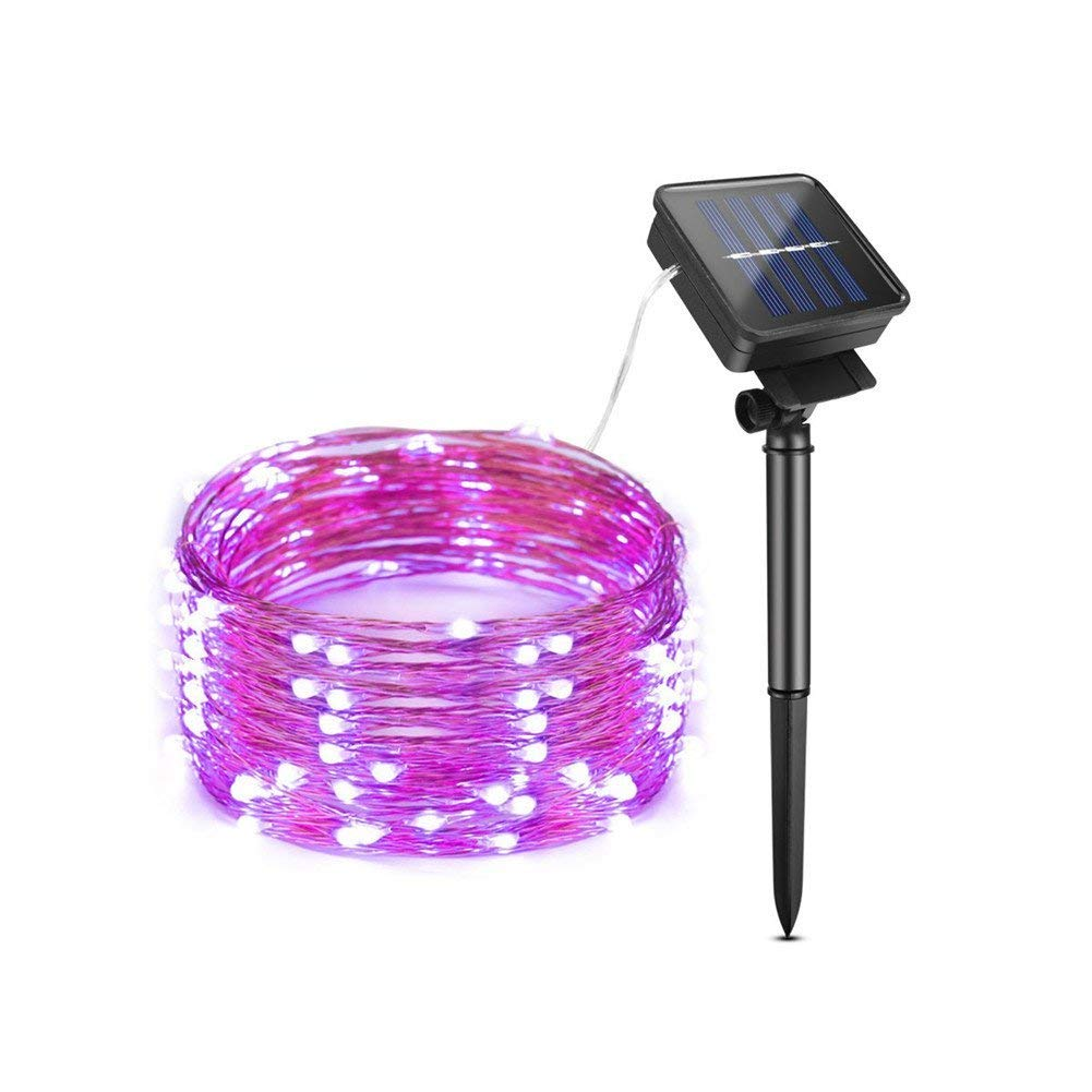 AIMENGTE LED String Lights, LED Fairy Lights Solar Powered, 200 LEDs 66ft Starry Lights Outdoor, IP65 Waterproof Decorative Lamp for Christmas, Halloween, Camping, Holiday etc. (20M/66ft, Purple)