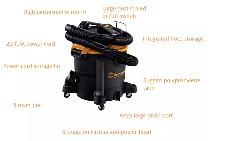 Vacmaster Professional Beast series 12 Gallon 5.5 HP high suction large home cleaning wet and dry vacuum cleaner-VJH1211PF 0201