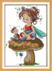 The little girl and a sevenspotted ladybug diy cross stitch kits cotton needlepoint canvas