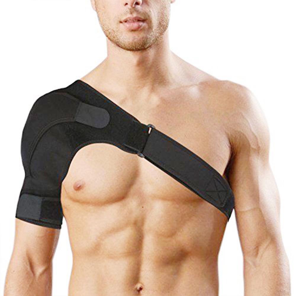 Custom Adjustable Sports Breathable Waterproof Neoprene Elastic Orthopedic Shoulder Support Brace, Black