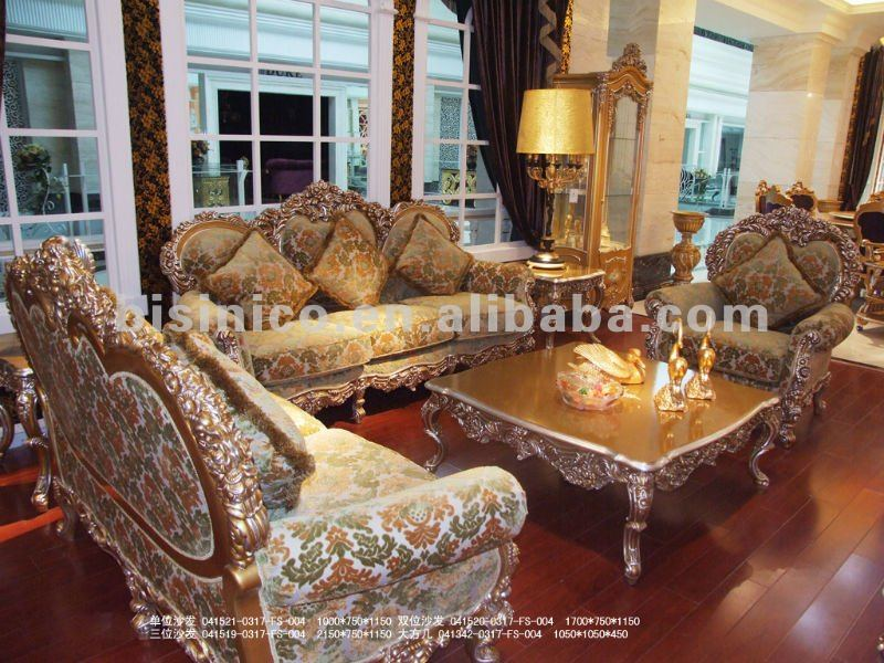 Luxury Classical Sofa Set European Wood Carving Gold