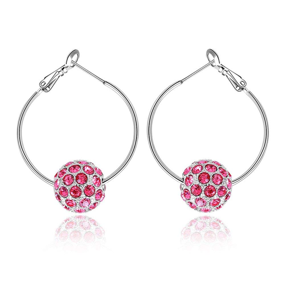 PORPI-JOJO Hoop Earrings Dangle Drop Round Rose Red CZ for Women Girls Anniversary Birthday Gifts