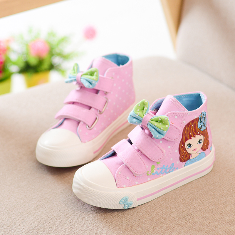 2016 New Spring Children Canvas Shoes for Girls Bowknot Polka Dot Fashion Sneakers Kids High Flat