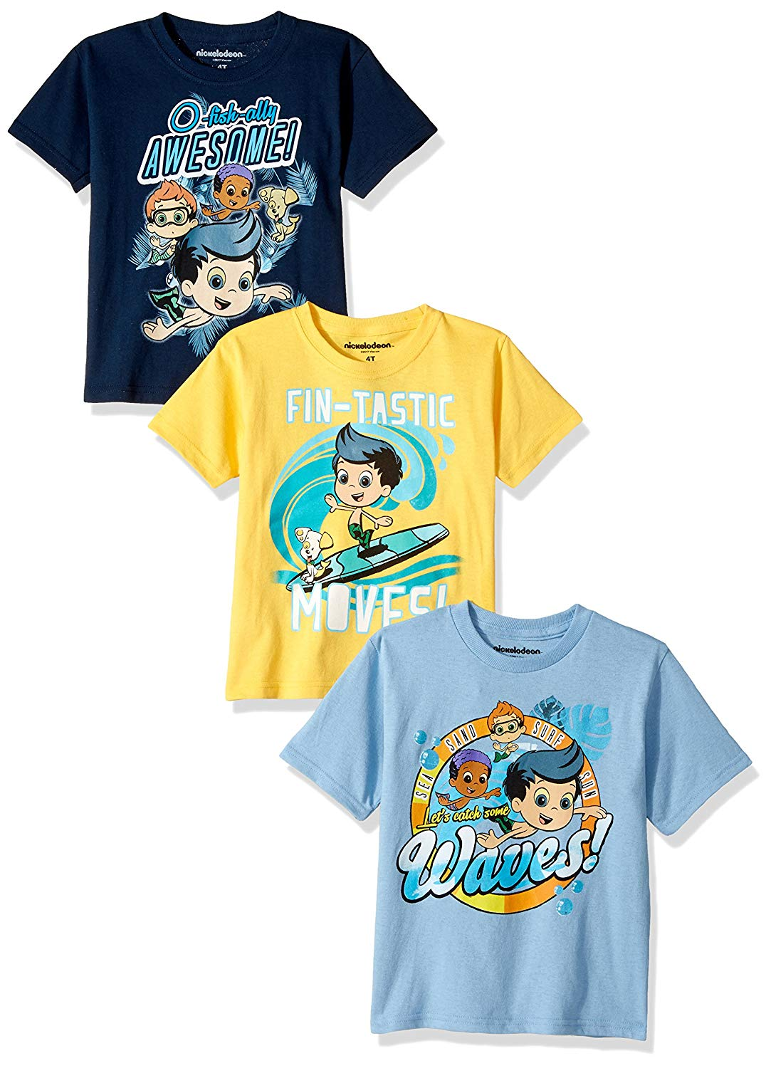 d40a38c3a1 Get Quotations · Nickelodeon Boys  Toddler Bubble Guppies B 3-Pack Short  Sleeve T-Shirt