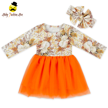New product boutique design little girl orange floral tulle princess dress european style dresses