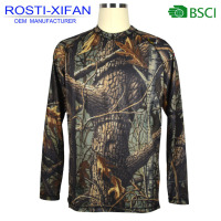 Men Camo Printed Hunting Pullover Micro Dry Clothing Long Sleeve T- Shirt