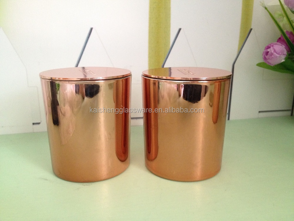 Tea light holder type copper glass candle jars and lids in rose color