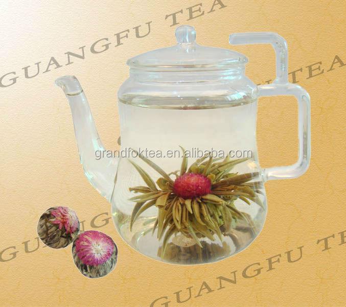 Jin Shang Tian Hua Blooming tea high grade Green tea silver needle with Globe amaranth flower - 4uTea | 4uTea.com