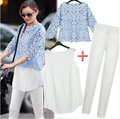 European Grand Prix 2014 summer new style lace chiffon blouse hook flower vest bottoming trousers women