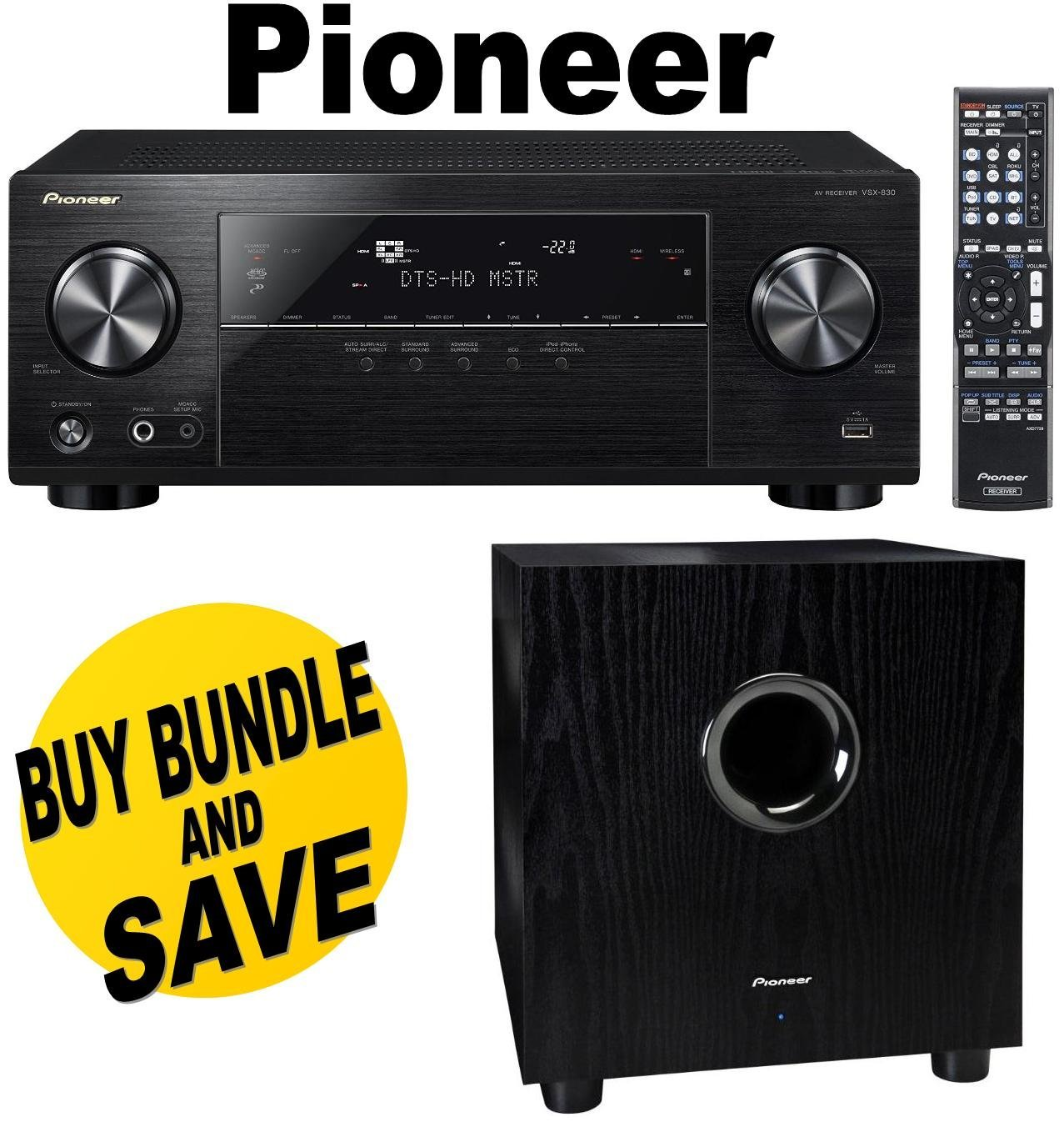 Pioneer VSX-830-K 5.2-Channel AV Receiver with Built-In Bluetooth and Wi-Fi (Black) + Pioneer SW-8MK2 Andrew Jones Designed 100-Watt Powered Subwoofer Bundle