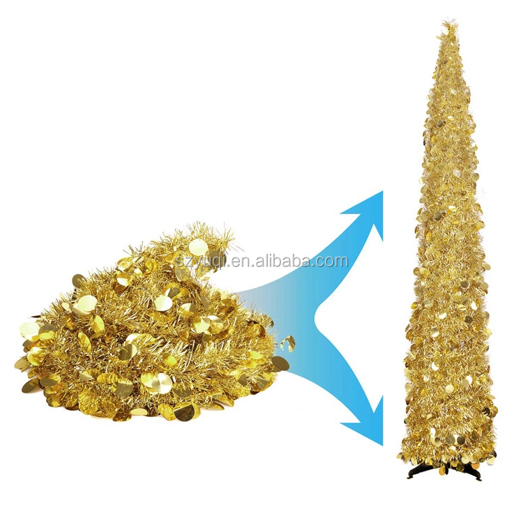 Home Decoration Artificial Indoor or Outdoor 5 Feet Red Pop-up Collapsible Shiny Sequins Tinsel Christmas Tree