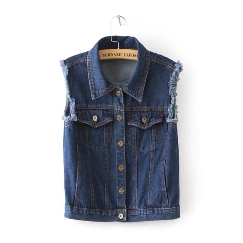 bd6c068e1ff5a Get Quotations · 2015 Women Vest Spring Summer Sleeveless Women Denim Vest  Coat Turn-down Collar Frayed Denim