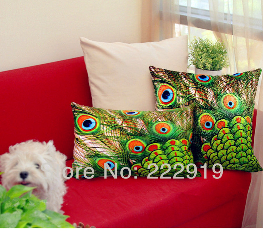 Novelty Quality luxury peacock pillow  cover/ peacock home decoration/decorative sofa pillow covers free shiping
