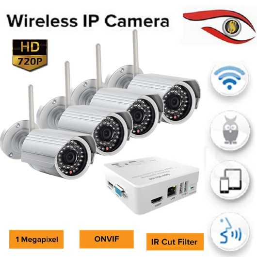4ch nvr kit 1mp 3.6mm lens wifi ip cameras 4ch mini nvr 1tb storage wireless security system network cctv camera kit