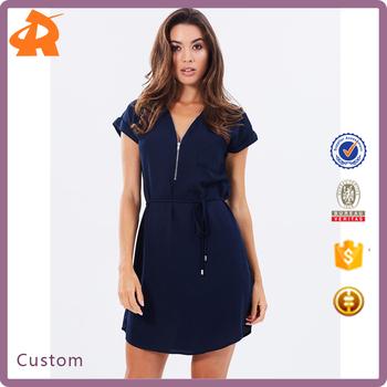 00177c5bfe3f 2017 New Fashion Ladies Dress Korean Design Zip Front Simple Women Casual  Dresses