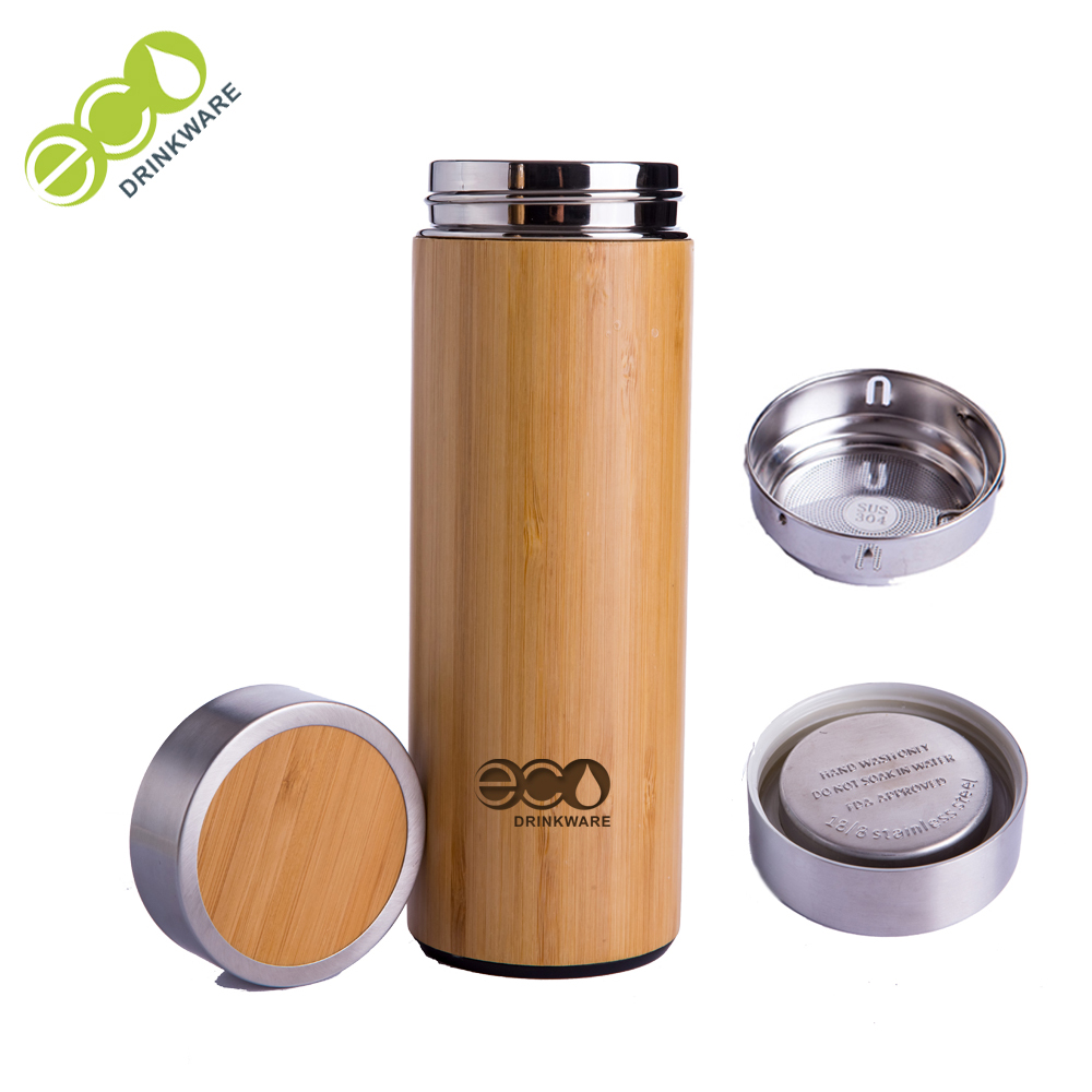 Stocked GB8040 380ML/14OZ Natural Stainless Steel bamboo Vacuum Insulated infuser thermos flask Wholesale фото
