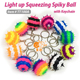 Squeeze/squishy spiky ball toys, Keychain, LED light up rubber bouncing balls with keyring, sillicon cell phone accessory