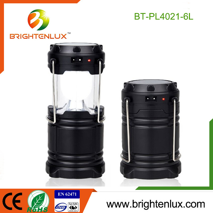 Factory Hot Sale 3*AA Battery Powered 6 led Solar Rechargeable Multi-functional Camping Lantern with USB Power bank Charging