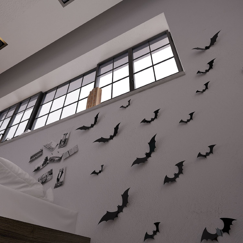 Gefii(TM)Halloween Party 12pcs/pack Black/Luminous PVC 3D Decorative Bats Butterfly Removable Wall Sticker, Halloween eve decor (black) (6.29inches x 1.57 inches/each x 4 big bats , 5.7inches x 1.77inches/each x 4 medium bats and 4.52inches x 1.37inches/each x 4 small bats)