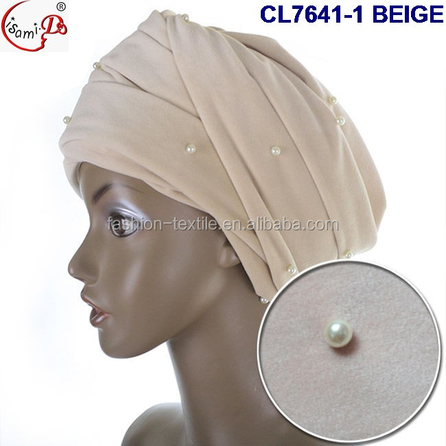 2017 velvet turban head wrap for women new style fashion CL7641-1 BEIGE turban with beads for party