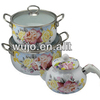 Six layer big full decor enamel kettle hot pot casserole set