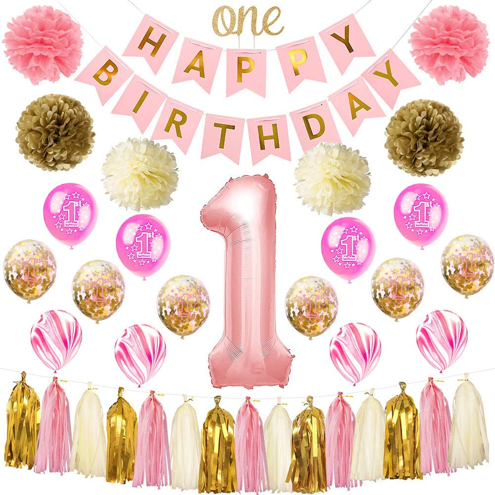 HankRobot First Birthday Decorations For Girls39 Pack 1st Baby Girl Number One