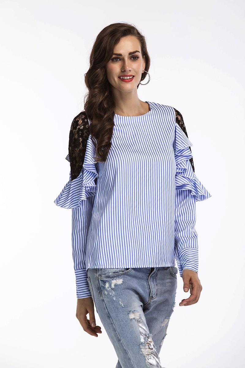 21a63e68cb7 Aliexpress.com   Buy Willstage Blue Striped Blouse Women Long Sleeve ...