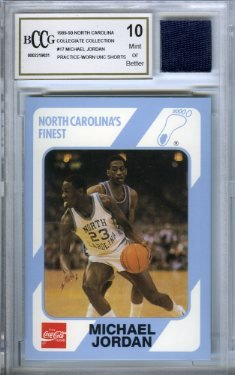 1989 UNC #17 Michael Jordan Rookie with Piece of Authentic Worn UNC Shorts Graded BGS BECKETT 10 MINT GGUM Card