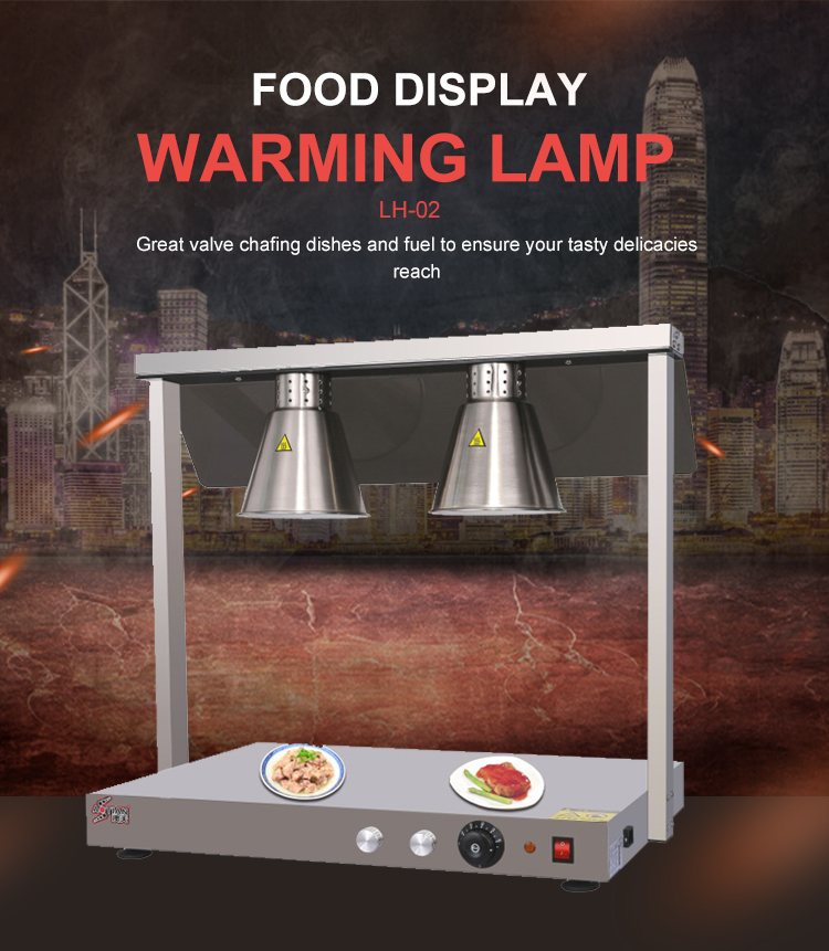 Restaurant Hotel Kitchen Equipment High Quality 2 Bulbs Head Table Food Heat Lamp /Buffet Stainless Steel Food Warmer